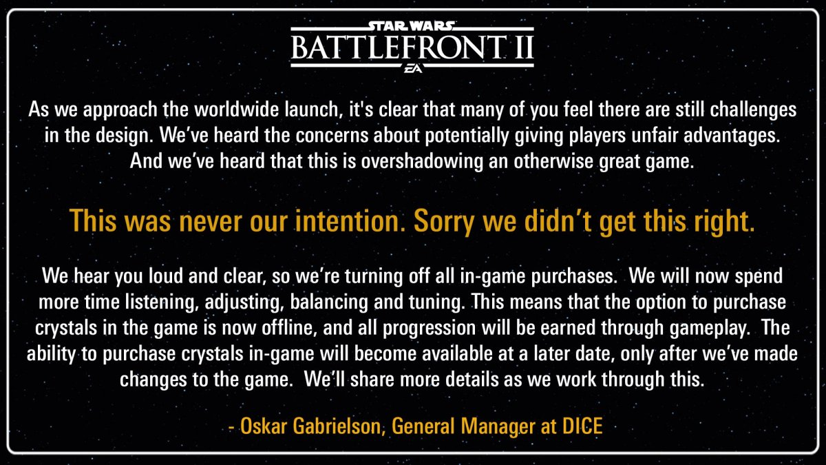 TLDR: EA and Star Wars Battlefront II Controversy